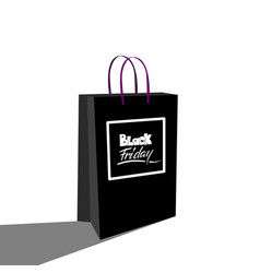 black friday sale lettering on a shopping paper vector image