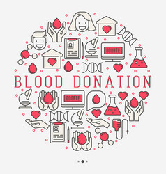 Blood donation concept in circle for web page vector