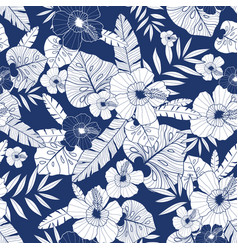 Blue drawing tropical summer hawaiian vector