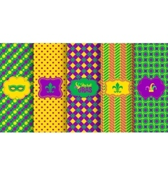 Bright abstract mardi gras pattern set vector image