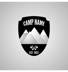 Camping mountain logo with crossed axe Labels and vector