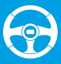 Car steering wheel icon white vector