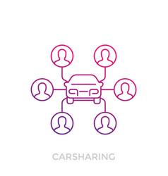 Carsharing icon on white linear vector