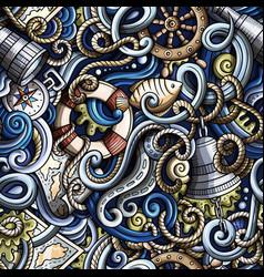 Cartoon hand-drawn nautical doodles seamless vector