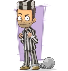 Cartoon prisoner in robe with metal vector image