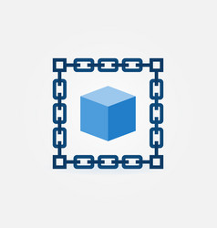 Chain with blue cube icon blockchain vector