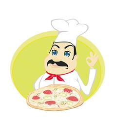 chef cook with pizza vector image