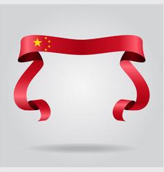 chinese flag wavy ribbon background vector image