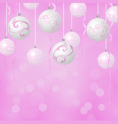 christmas balls background pink and white colors vector image
