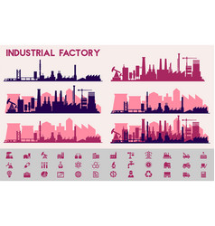 city skyline industrial sets city districts vector image