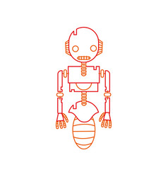 color line robot technology with machine body vector image