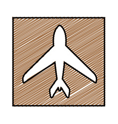 Color pencil drawing square frame with airplane vector