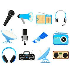 Colorful cartoon 12 telecommunication elements vector