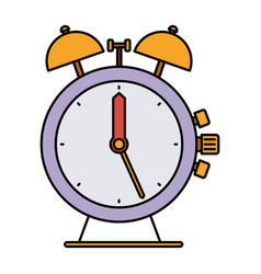 Colorful silhouette of antique alarm clock vector