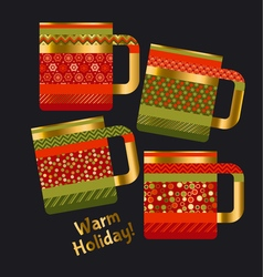 concept xmas style rustic cups souvenir mugs set vector image