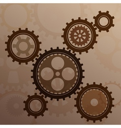 Connected gear cogs metal silhouette vector