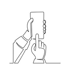 continuous one line drawing a hand holding vector image