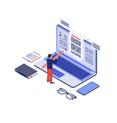 Copywriting isometric copywriter content writer vector