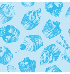 Cupcakes blue seamless pattern vector