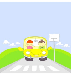 cute cartoon couple traveling by car vector image