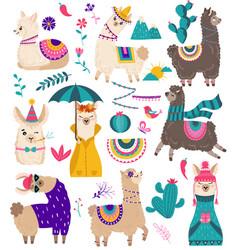 cute llama funny alpaca cartoon characters vector image
