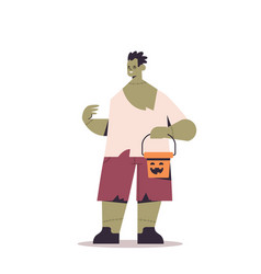 cute man in zombie costume holding bucket with vector image