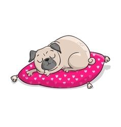 Cute pug hand drawn cartoon vector