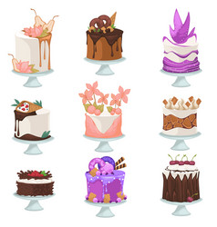 Delicious cakes with chocolate topping bakery vector