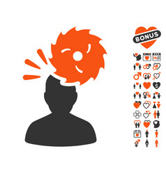 Destroy person icon with love bonus vector
