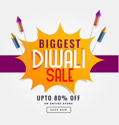 Diwali festival sale banner with rocket cracker vector