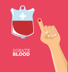 donate blood hand drop test vector image