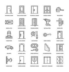 Doors installation repair line icons various vector