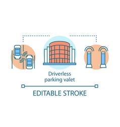 Driverless parking valet concept icon stand for vector