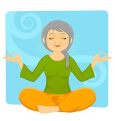 elder woman meditating vector image