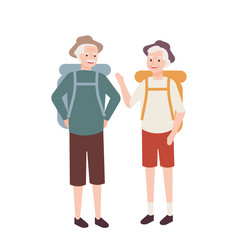 elderly couple with backpacks pair old man and vector image