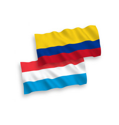Flags colombia and luxembourg on a white vector