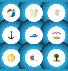 Flat icon summer set of ship hook surfing vector
