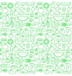 food seamless pattern line icons design background vector image