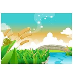 Foot bridge over river vector image