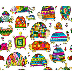 funny turtles collection seamless pattern for vector image