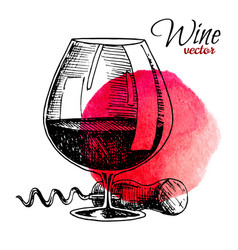 Glass wine and corkscrew black vintage vector