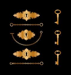 golden vintage keyholes and keys vector image