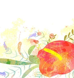 Greeting background with pictorial freesia flowers vector