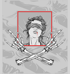 Gril with hand skull metalhand drawingshirt vector