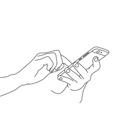 hand drawing two hands using a smartphone vector image
