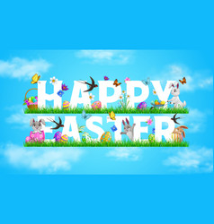 happy easter holiday banner with rabbits vector image