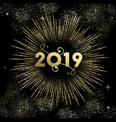 happy new year 2019 gold firework greeting card vector image