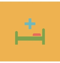 Hospital bed and cross icon vector image