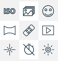 Image icons line style set with no timer wb vector