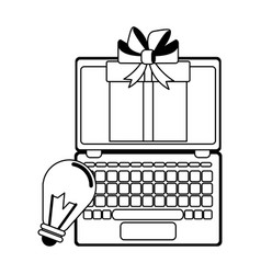 laptop with gift box and bulb light symbol in vector image